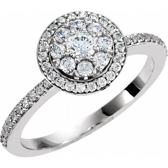 White Diamond Ring in 14 Karat White Gold 1/3 Carat Diamond Halo-Style Cluster Engagement Ring