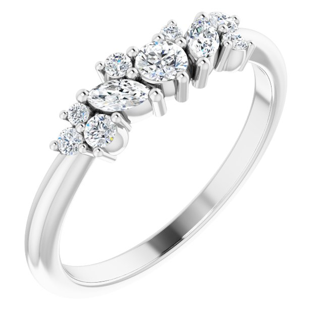 White Diamond Ring in 14 Karat White Gold 1/3 Carat Diamond Multi-Shape Ring