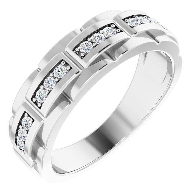 White Diamond Ring in 14 Karat White Gold 1/3 Carat Diamond Pattern Ring