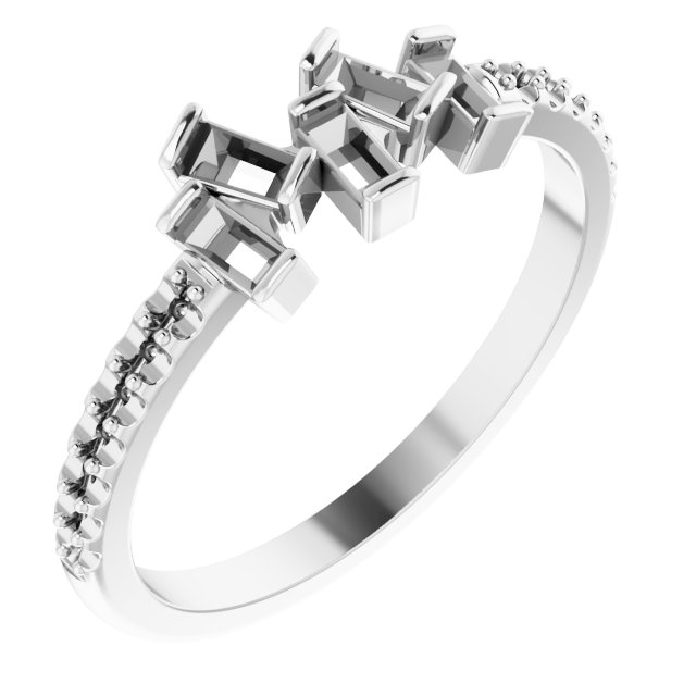 White Diamond Ring in 14 Karat White Gold 1/3 Carat Diamond Scattered Ring