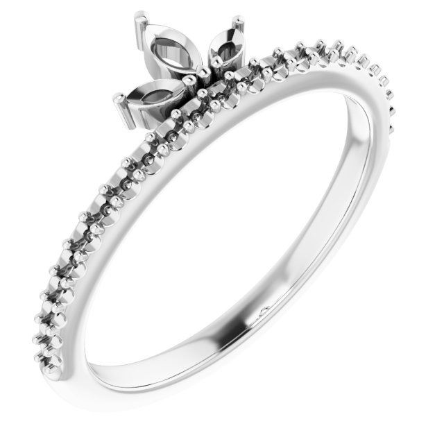 White Diamond Ring in 14 Karat White Gold 1/3 Carat Diamond Stackable Crown Ring