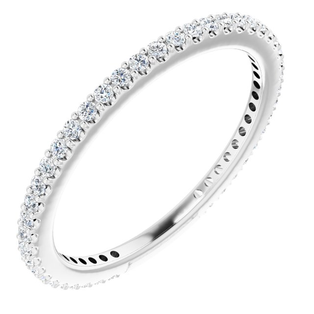 White Diamond Ring in 14 Karat White Gold 1/3 Carat Diamond Stackable Ring Size 4
