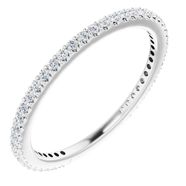 White Diamond Ring in 14 Karat White Gold 1/3 Carat Diamond Stackable Ring Size 6
