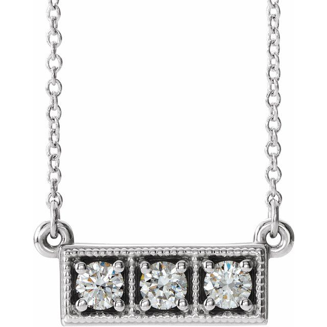 Genuine Diamond Necklace in 14 Karat Genuine Gold 1/3 Carat Diamond Three-Stone Granulated Bar 16-18