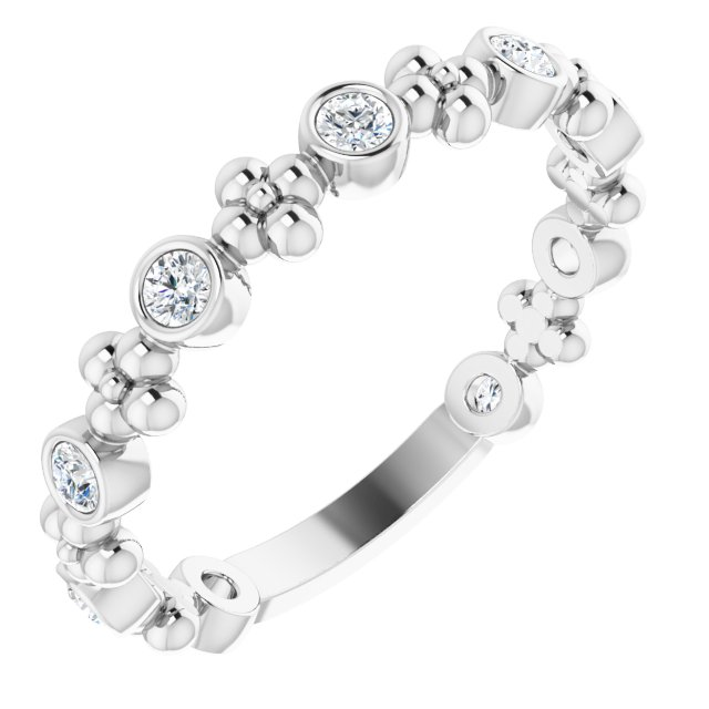 White Diamond Ring in 14 Karat White Gold 1/4 Carat Diamond Beaded Ring