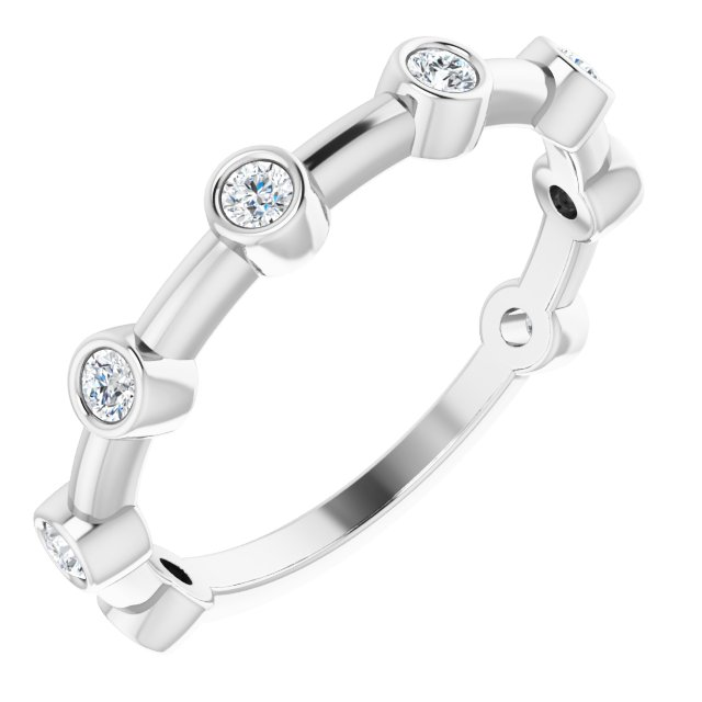 White Diamond Ring in 14 Karat White Gold 1/4 Carat Diamond Bezel-Set Bar Ring