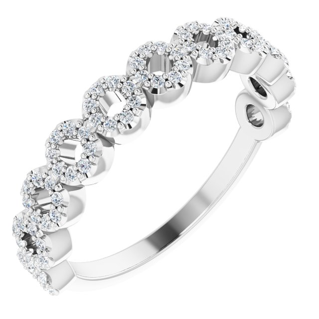 White Diamond Ring in 14 Karat White Gold 1/4 Carat Diamond Circle Ring
