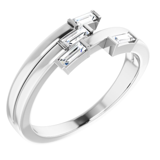 White Diamond Ring in 14 Karat White Gold 1/4 Carat Diamond Geometric Ring