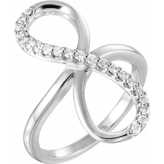 White Diamond Ring in 14 Karat White Gold 1/4 Carat Diamond Infinity-Inspired Ring