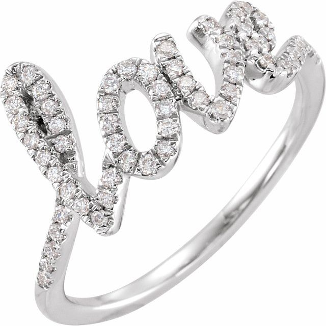 White Diamond Ring in 14 Karat White Gold 1/4 Carat Diamond Love Ring
