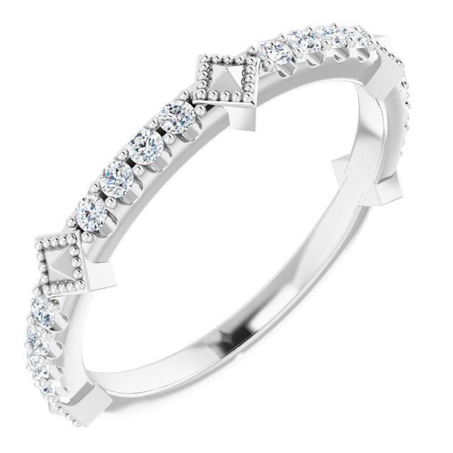 White Diamond Ring in 14 Karat White Gold 1/4 Carat Diamond Stackable Ring