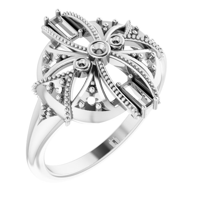 White Diamond Ring in 14 Karat White Gold 1/4 Carat Diamond Vintage-Inspired Ring