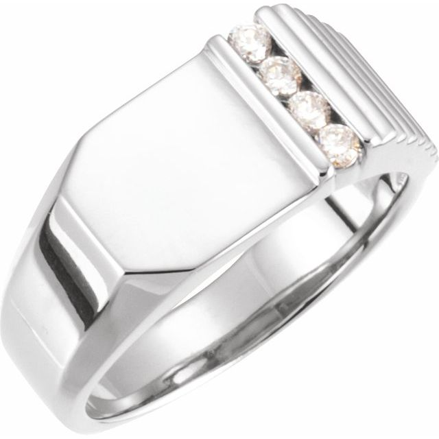 White Diamond Ring in 14 Karat White Gold 1/5 Carat Diamond 10.5x10 mm Geometric Signet Ring