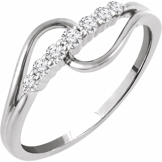 White Diamond Ring in 14 Karat White Gold 1/5 Carat Diamond Ring