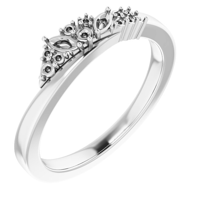White Diamond Ring in 14 Karat White Gold 1/5 Carat Diamond Scattered Ring