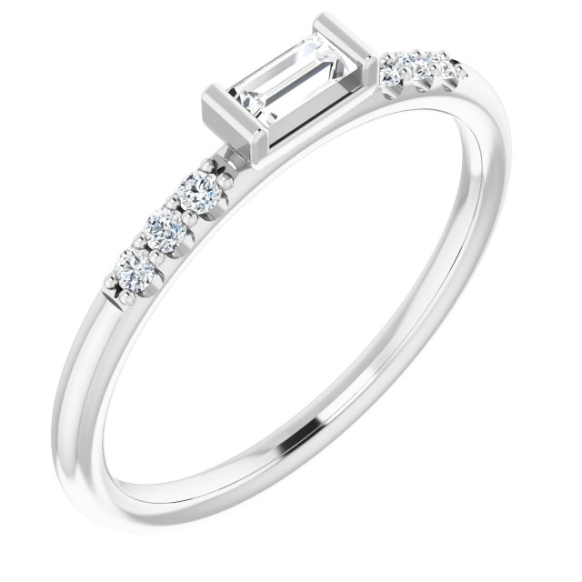 White Diamond Ring in 14 Karat White Gold 1/5 Carat Diamond Stackable Accented Ring