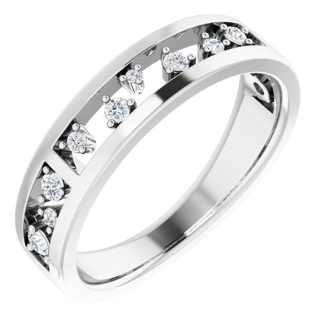 White Diamond Ring in 14 Karat White Gold 1/5 Carat Diamond Stackable Ring