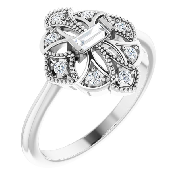 White Diamond Ring in 14 Karat White Gold 1/5 Carat Diamond Vintage-Inspired Ring