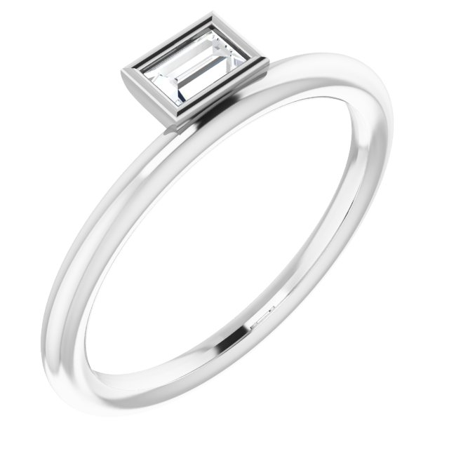 White Diamond Ring in 14 Karat White Gold 1/6 Carat Diamond Asymmetrical Stackable Ring
