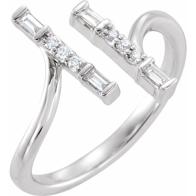 White Diamond Ring in 14 Karat White Gold 1/6 Carat Diamond Double Bar Ring