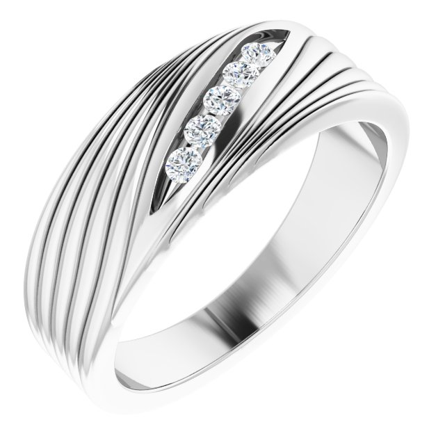 White Diamond Ring in 14 Karat White Gold 1/6 Carat Diamond Men's Ring