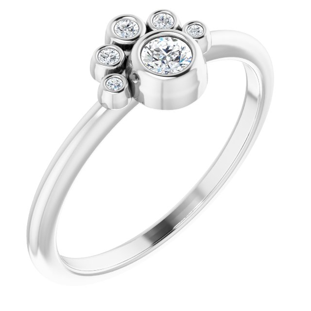 White Diamond Ring in 14 Karat White Gold 1/6 Carat Diamond Ring