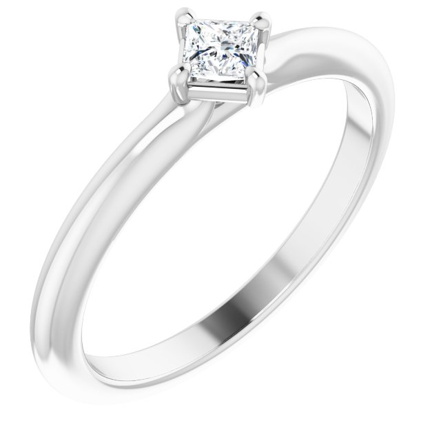 White Diamond Ring in 14 Karat White Gold 1/6 Carat Diamond Solitaire Ring