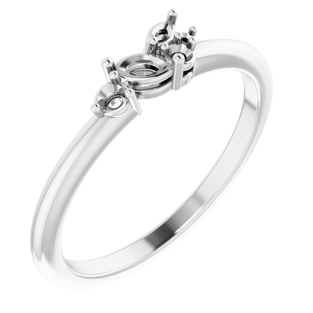 White Diamond Ring in 14 Karat White Gold 1/6 Carat Diamond Stackable Ring