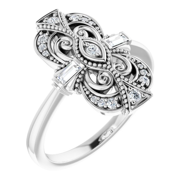 White Diamond Ring in 14 Karat White Gold 1/6 Carat Diamond Vintage-Inspired Ring