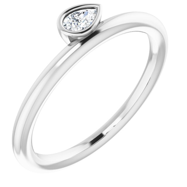 White Diamond Ring in 14 Karat White Gold 1/8 Carat Diamond Asymmetrical Stackable Ring
