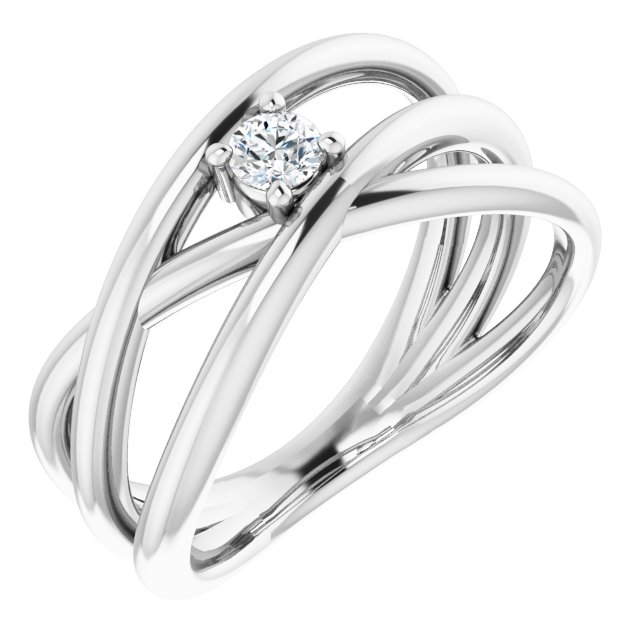 White Diamond Ring in 14 Karat White Gold 1/8 Carat Diamond Negative Space Ring