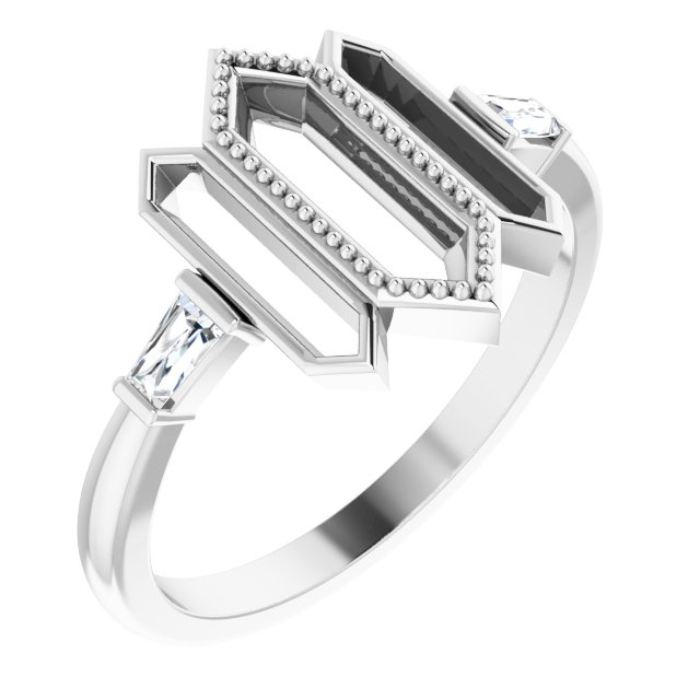 White Diamond Ring in 14 Karat White Gold 1/8 Carat Diamond Geometric Ring