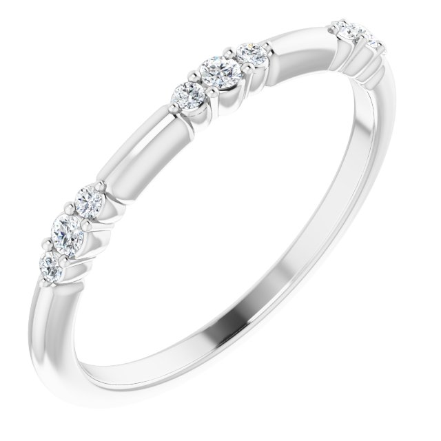 White Diamond Ring in 14 Karat White Gold 1/8 Carat Diamond Stackable Ring