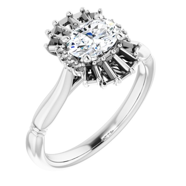 White Diamond Ring in 14 Karat White Gold 1 Carat Diamond Halo-Style Ring