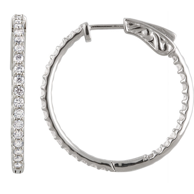 Perfect Gift Idea in 14 Karat White Gold 1 Carat Total Weight Diamond Inside/Outside Hoop Earrings
