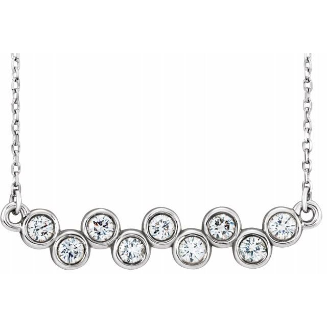 Created Moissanite Necklace in 14 Karat  Gold 2.5 mm Round Forever One Moissanite 18