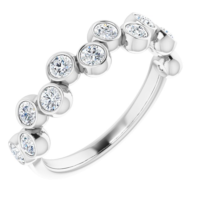 White Diamond Ring in 14 Karat White Gold 3/4 Carat Diamond Bezel-Set Ring