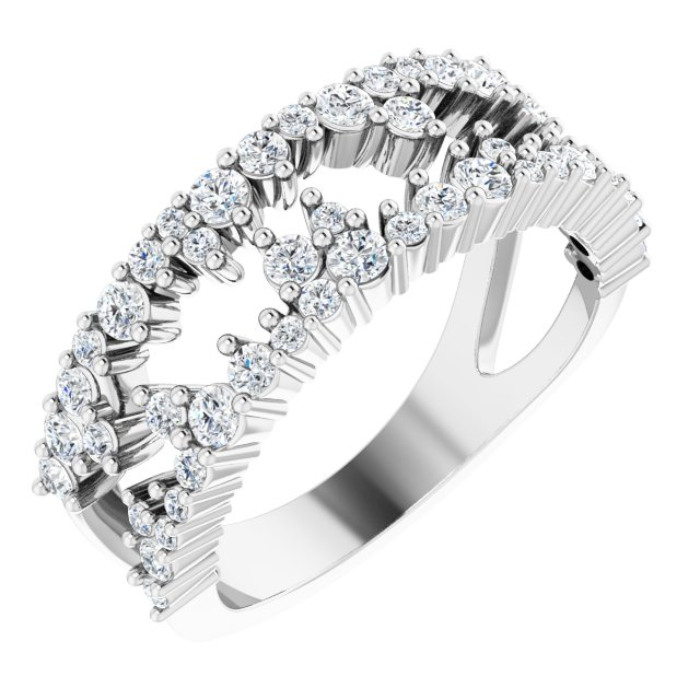 White Diamond Ring in 14 Karat White Gold 3/4 Carat Diamond Negative Space Ring