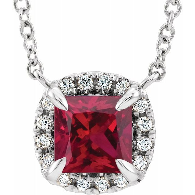 Chatham Created Ruby Necklace in 14 Karat White Gold 3.5x3.5 mm Square Chatham Lab-Created Ruby & .05 Carat Diamond 18