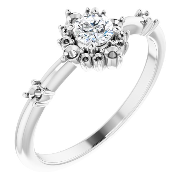 White Diamond Ring in 14 Karat White Gold 3/8 Carat Diamond Ring