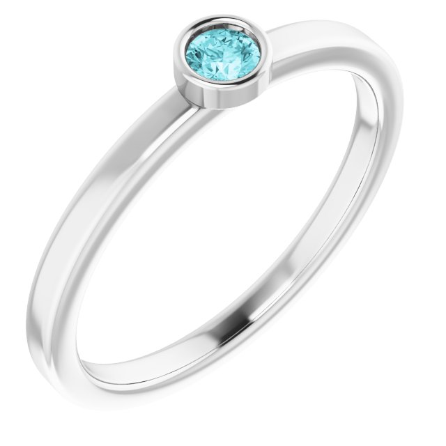 Genuine Zircon Ring in 14 Karat White Gold 3 mm Round Genuine Zircon Ring