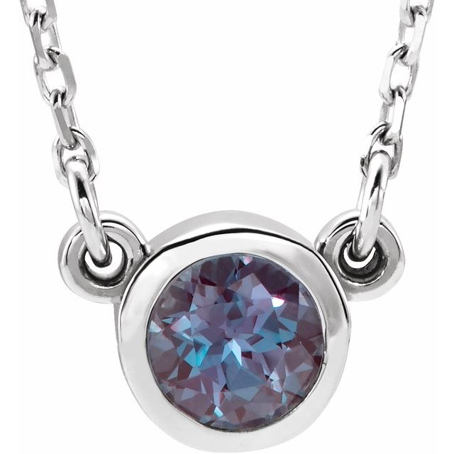 Color Change Chatham Created Alexandrite Pendant in 14 Karat White Gold 3 mm Round Chatham Lab-Created Alexandrite Bezel-Set Solitaire 16