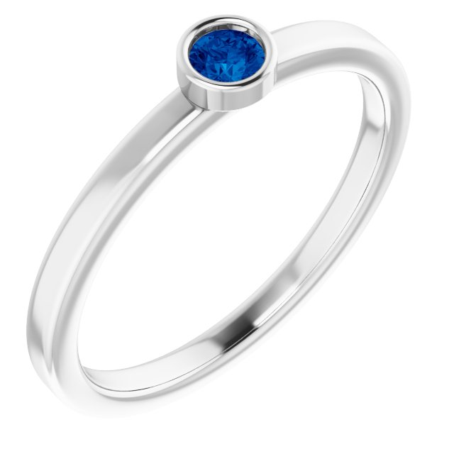 Genuine Chatham Created Sapphire Ring in 14 Karat White Gold 3 mm Round Chatham Lab-Created Genuine Sapphire Ring