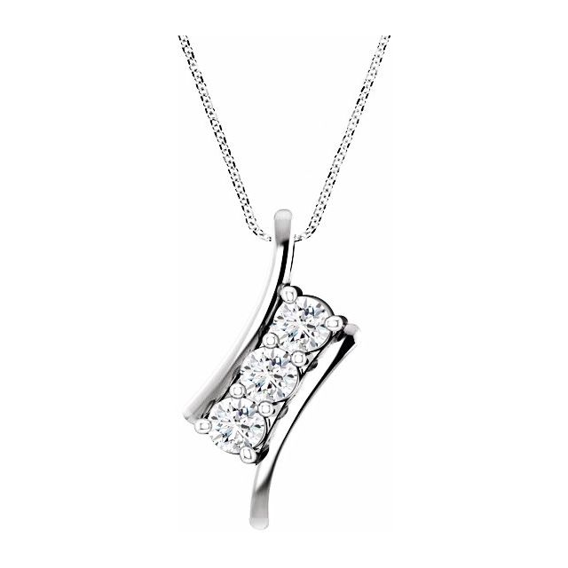 Created Moissanite Necklace in 14 Karat  Gold 3 mm Round Forever One Moissanite Three-Stone 16-18