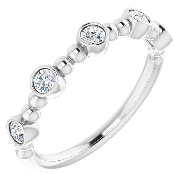 White Diamond Ring in 14 Karat White Gold .33 Carat Diamond Stackable Ring