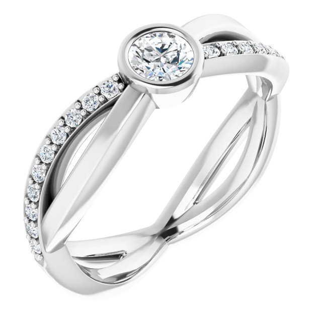 White Diamond Ring in 14 Karat White Gold 4.1 mm Round 3/8 Carat Diamond Infinity-Inspired Ring