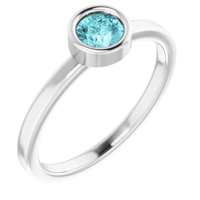 Genuine Zircon Ring in 14 Karat White Gold 4.5 mm Round Genuine Zircon Ring