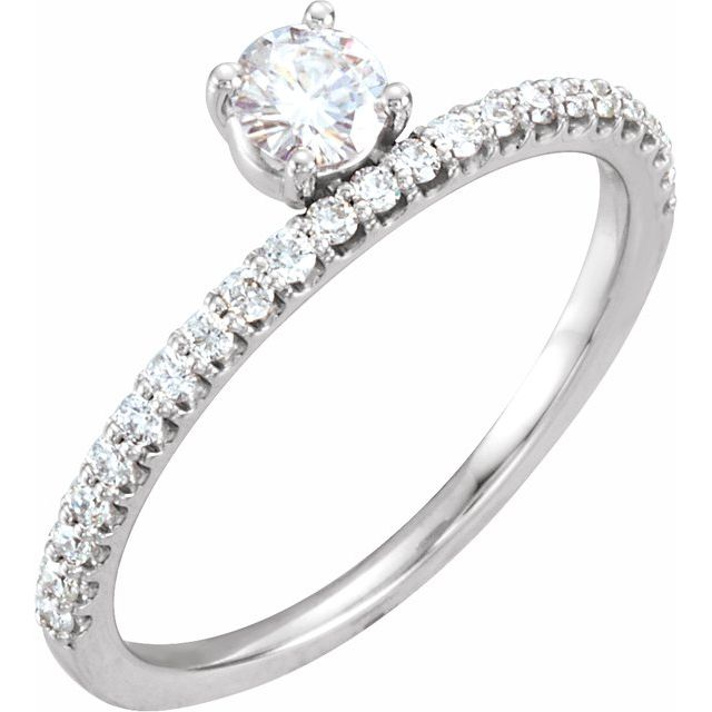 Created Moissanite Ring in 14 Karat  Gold 4 mm Round Forever One Moissanite & 1/5 Carat Diamond Stackable Ring
