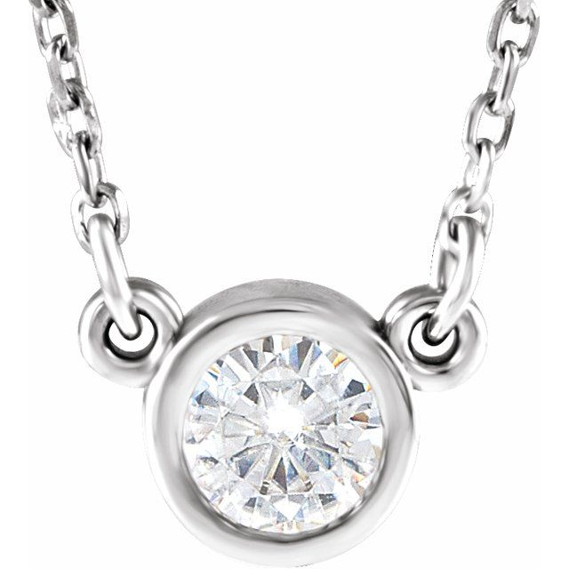 Created Moissanite Necklace in 14 Karat  Gold 4 mm Round Forever One Moissanite 18