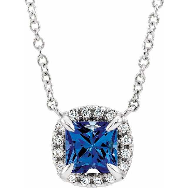 Genuine Chatham Created Sapphire Necklace in 14 Karat White Gold 4x4 mm Square Chatham Lab-Created Genuine Sapphire & .05 Carat Diamond 16